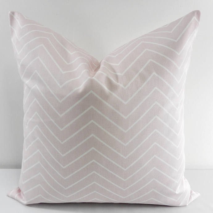 Bella Pink  & White In Chevron  Print  Sofa Pillow cover. Throw pillow cover.