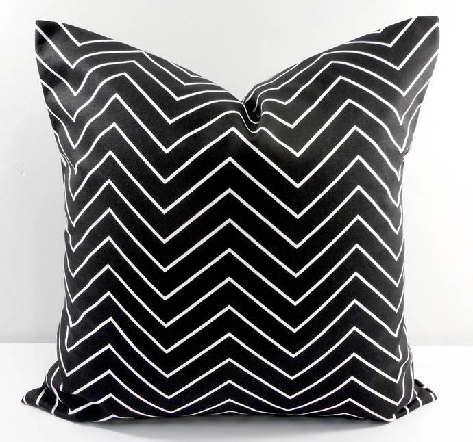 Black   & White In Chevron  Print  Sofa Pillow cover. Throw pillow cover. Euro