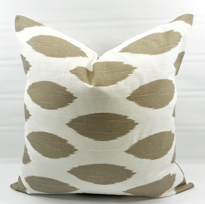 Ecru  & White In Chipper Print  Sofa Pillow cover. Throw pillow cover. Euro
