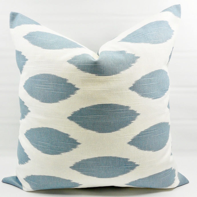 Cashmere Blue  & White In Chipper Print  Sofa Pillow cover. Throw pillow cover.