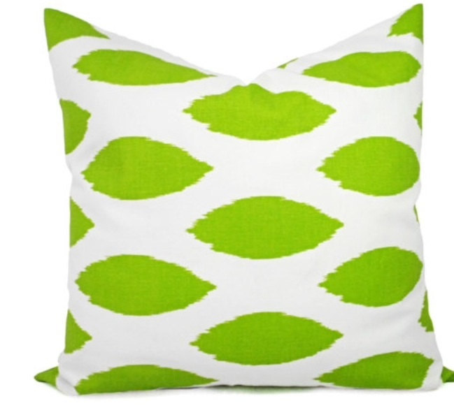 Chartreuse Green   & White In Chipper Print  Sofa Pillow cover. Throw pillow
