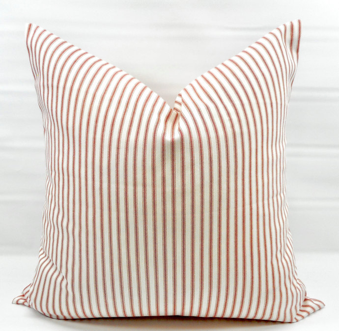Lipstick red  & White In Classic Stripe  Print  Sofa Pillow cover. Throw pillow
