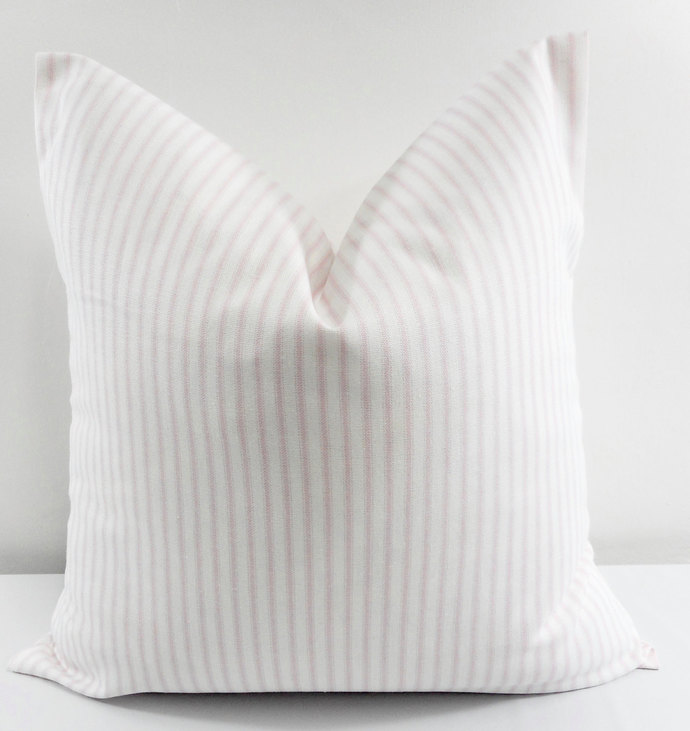 Bella Pink  & White In Classic Stripe  Print  Sofa Pillow cover. Throw pillow