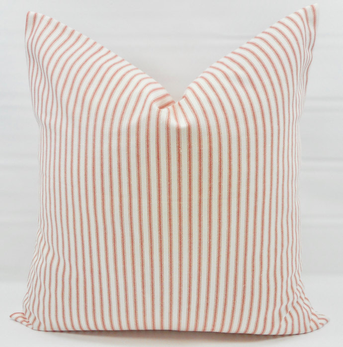 Coral & White In Classic Stripe  Print  Sofa Pillow cover. Throw pillow cover.