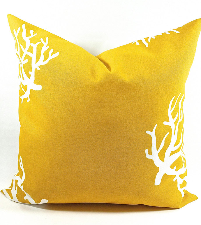 mustard yellow  Gold  In Coral  Print. Indoor/ Outdoor Polyester Sofa Pillow