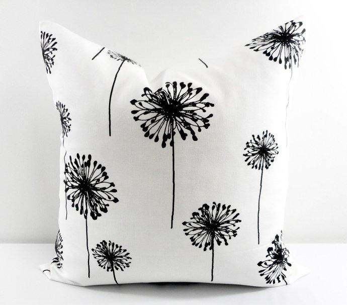 Black  & White In Dandelion  Print  Sofa Pillow cover. Throw pillow cover. Euro