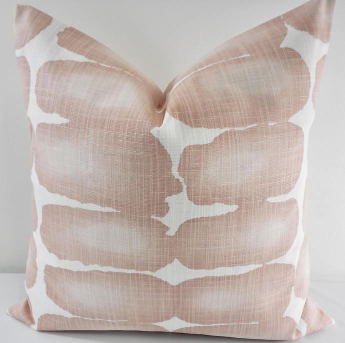 Blush & white In Shibori dot print Print  Sofa Pillow cover. Throw pillow cover.