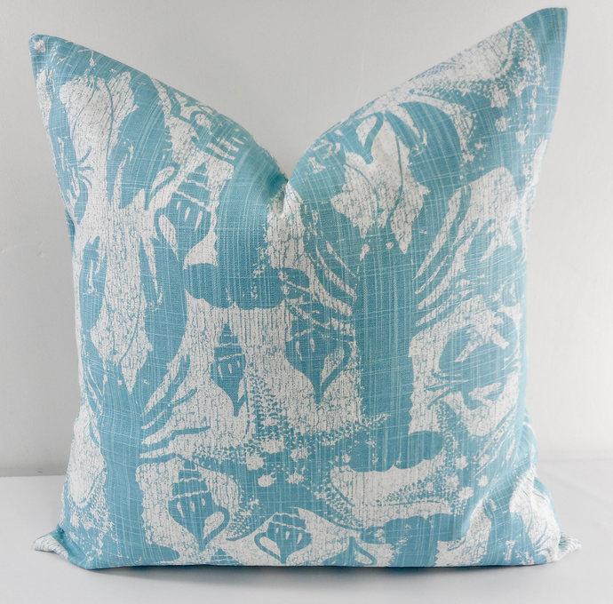Cancun Blue & white In Sand Runner  print Print  Sofa Pillow cover. Throw pillow