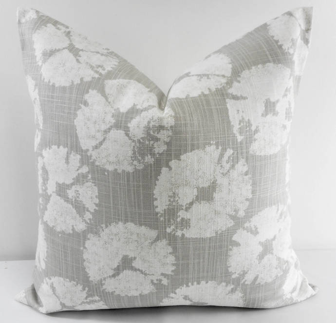 French Grey  & white In Sand dollar  print Print  Sofa Pillow cover. Throw