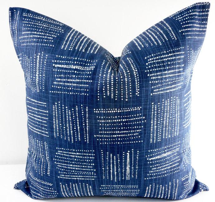 Italian Denim Blue & white In Brave  print Print  Sofa Pillow cover. Throw