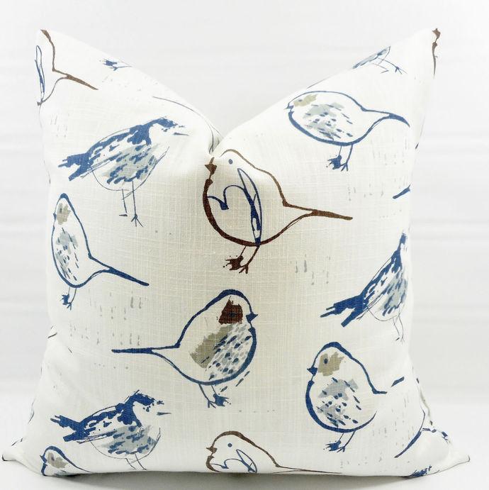 Blue  & white In Bird toile Regal Blue  print Print  Sofa Pillow cover. Throw