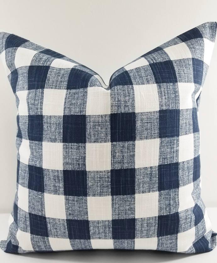 Italian Denim blue & white In Buffalo Plaid print Print  Sofa Pillow cover.