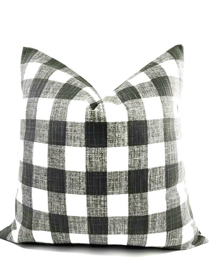 Dark Grey Ink & white In Buffalo Plaid print Print  Sofa Pillow cover. Throw