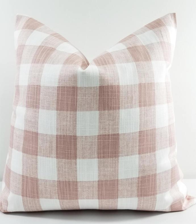 Blush Pink & white In Buffalo Plaid print Print  Sofa Pillow cover. Throw pillow