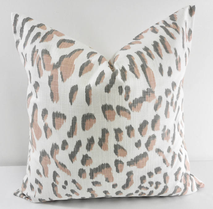 Blush Pink & white In Lawson  print Print  Sofa Pillow cover. Throw pillow