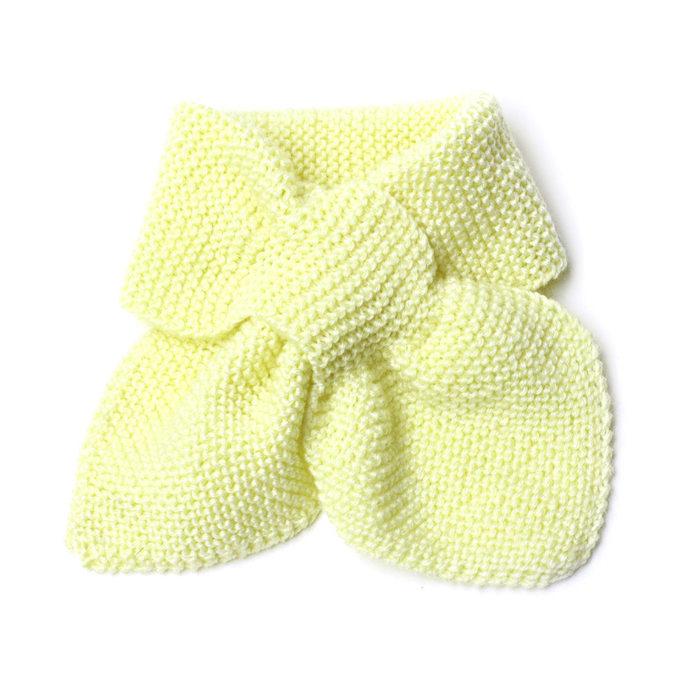 Unisex Toddler Pale Yellow Pull Thru Knit Scarf. Kids Keyhole Bow Tie Muffler 2