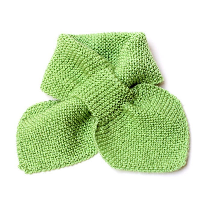 Toddler Knit Scarf. Kids Green Pull Thru Neck Wrap. Keyhole Muffler 2 to 4