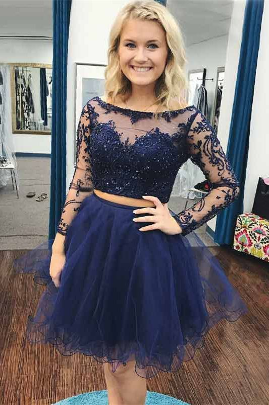 Two Piece Bateau Long Sleeves Navy Blue Beaded By Dress Storm On