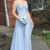 Sexy A Line Prom Dress with Beaded, Chiffon Prom Dresses, Blue Long Evening