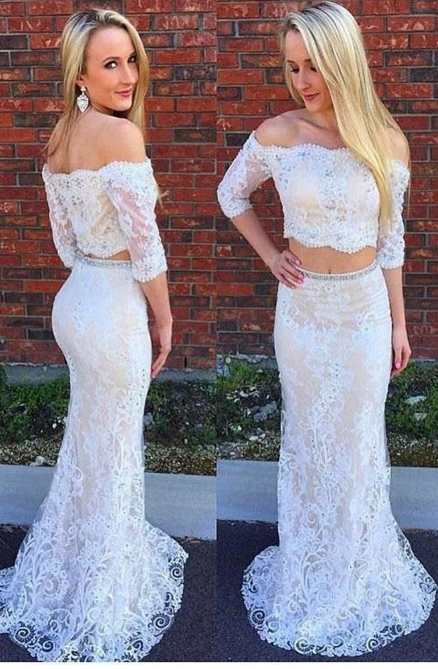 Sexy Lace Prom Dress, Long Evening Dress, Two Piece Prom Dresses