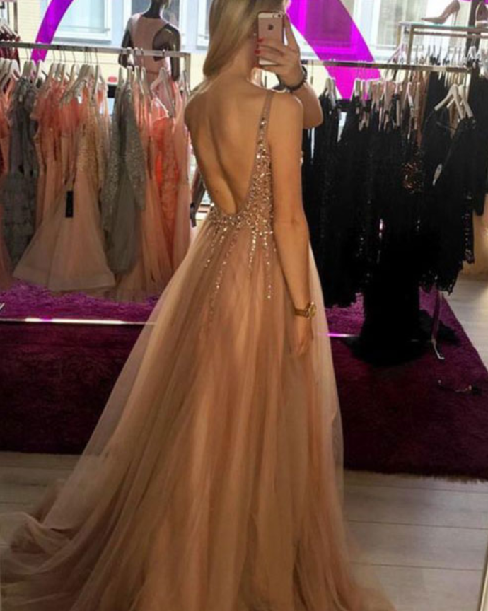 Sexy V Neck A Line Prom Dress with Beaded, Long Evening Dress, Tulle Party Dress