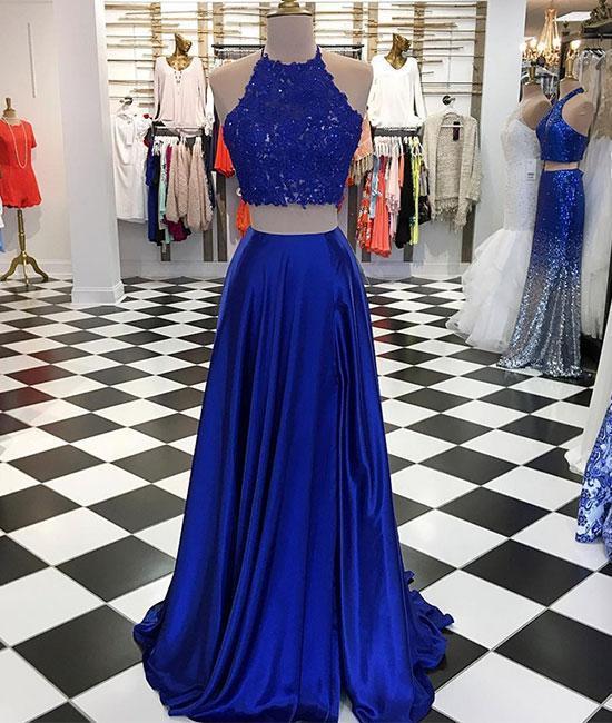 Elegant Two Piece Prom Dress, Long Evening Dress, Royal Blue Lace Appliques
