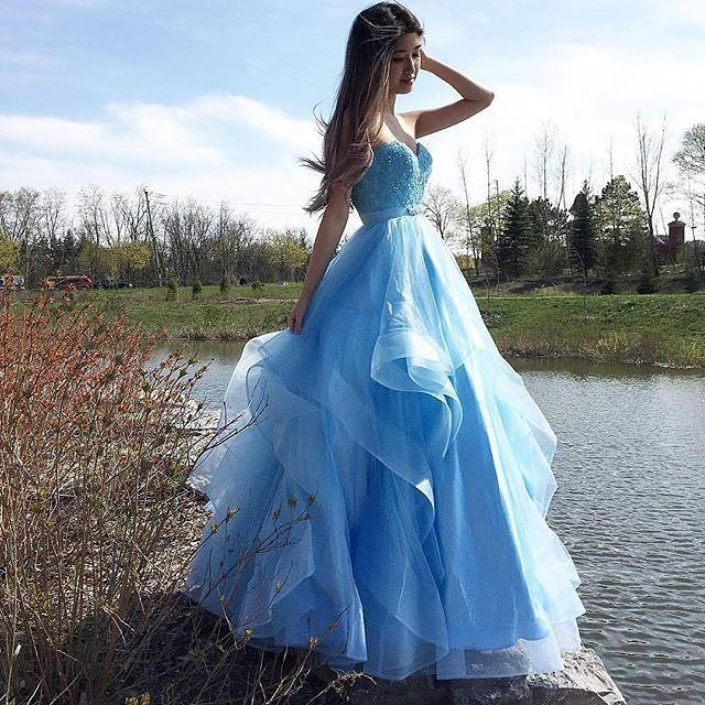 Elegant Light Blue Appliques Prom Dress, Long Evening Dress, Ruffles Prom Gowns