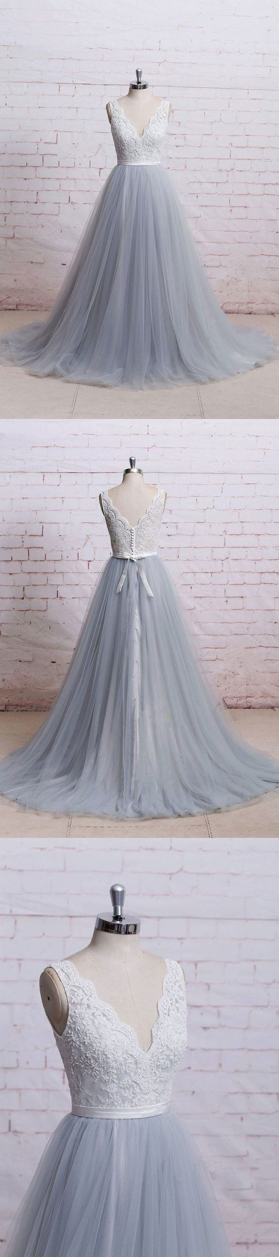 Lace top grey tulle wedding dresses,v-neck by MeetBeauty on Zibbet