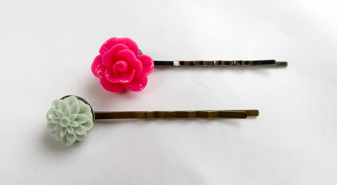 Flower Bobby Pins Neon Pink Mint