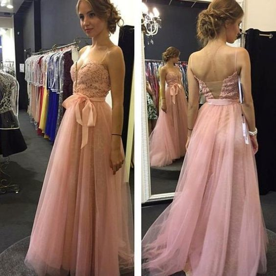 Elegant Pink Appliques Prom Dress, Long Evening Dress, Tulle Homecoming Dress
