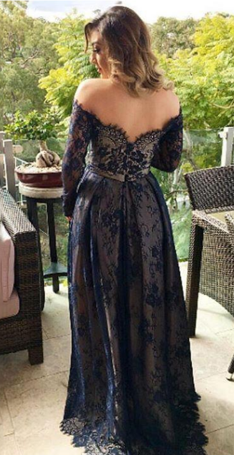 Sexy Lace Appliques Navy Evening Dress, Long Evening Dress, Full Sleeve Prom