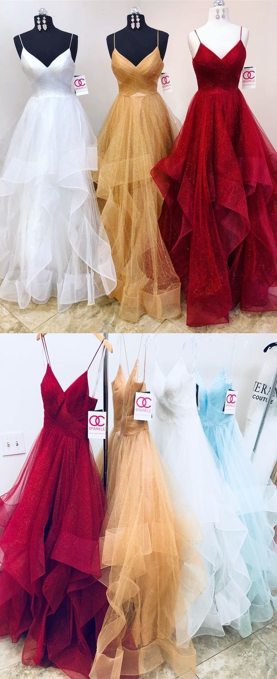 Sexy Straps Tulle Prom Dress, Long Evening Dress, 2019 Party Dress