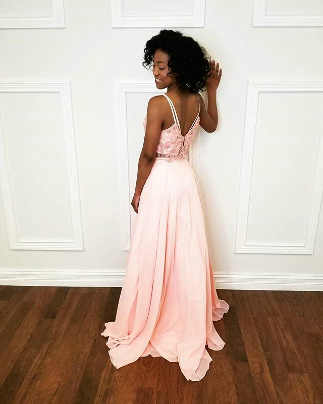 Sexy Straps Lace Appliques Prom Dress, Pink Prom Dresses, Long Homecoming Dress