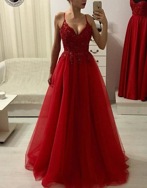 Red Appliques Tulle Prom Dress, Long Evening Dress, Sexy Spaghetti Straps