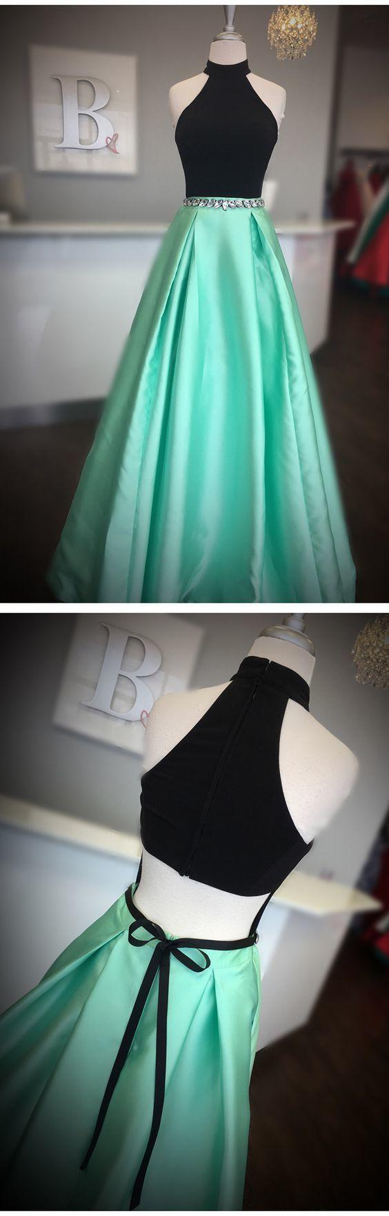 Elegant A Line Prom Dress, Long Evening Dress, High Neck Homecoming Dress