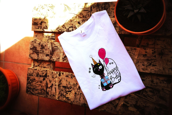 Happy Birthday Gift Cat Lover Woman T Shirt Tee High Quality Cotton