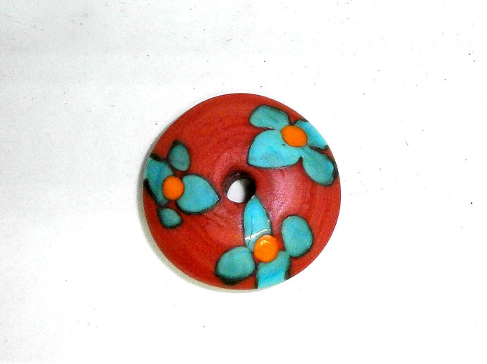 Glass Spindle Whorl in Coral Glass