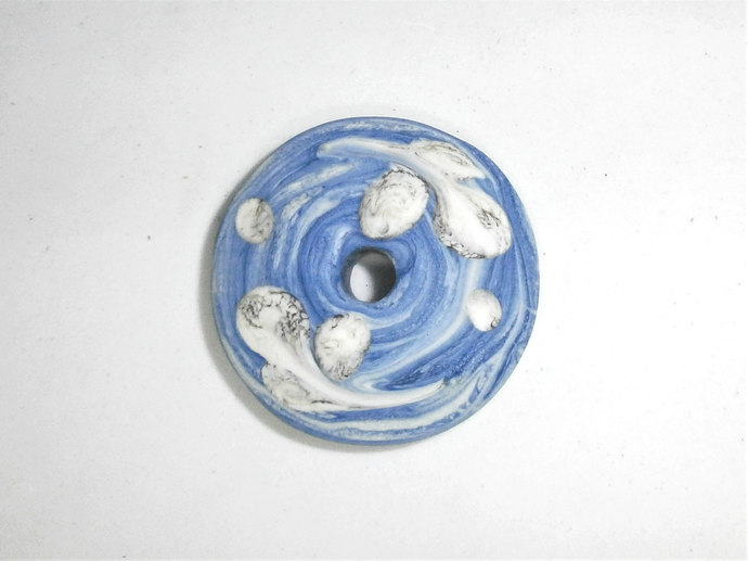 Lampwork Glass Spindle Whorl in Marbled Blue Glass