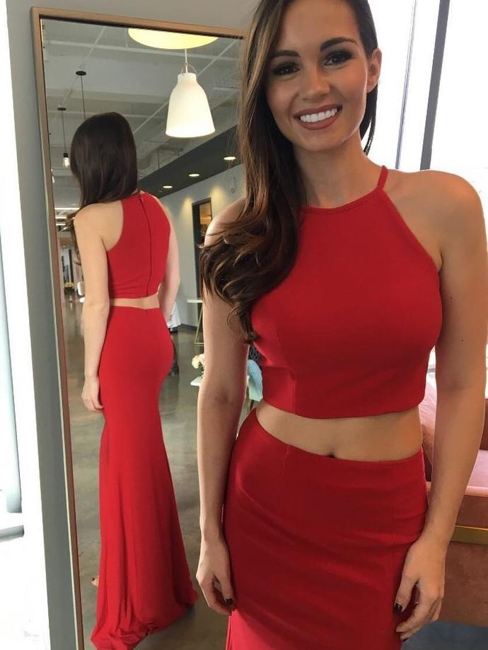 Red Two-Piece Mermaid Long Prom Dress,Red Evening Dress with Split