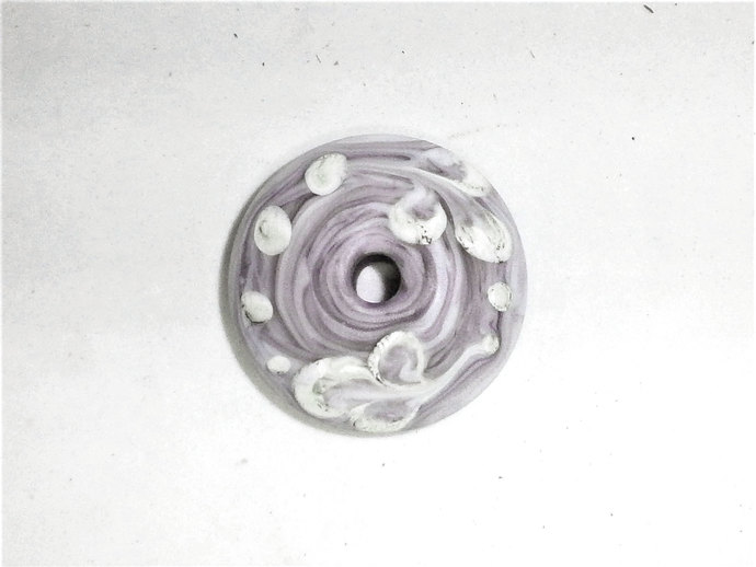 Handmade Lampwork Glass Spindle Whorl in Marbled Violet Glass