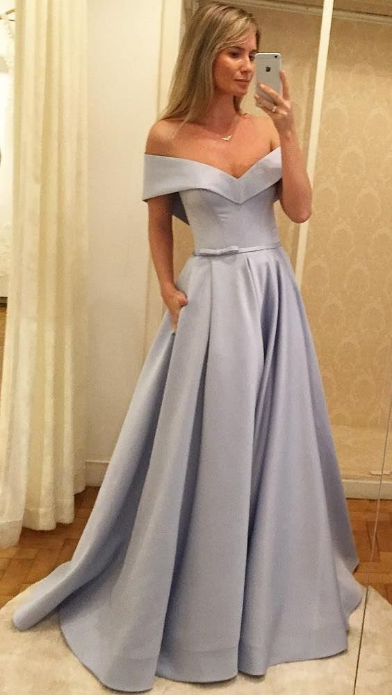 A-Line Off-the-Shoulder Sweep Train Grey Satin Prom Dress with Pockets