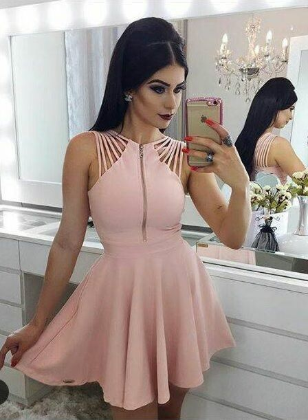 d05666c237c A-Line Pink Round Neck Short Formal by prom dresses on Zibbet