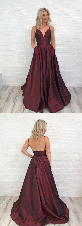 Spaghetti Straps V-neck Long Satin Burgundy Prom Dresses For Formal Evening