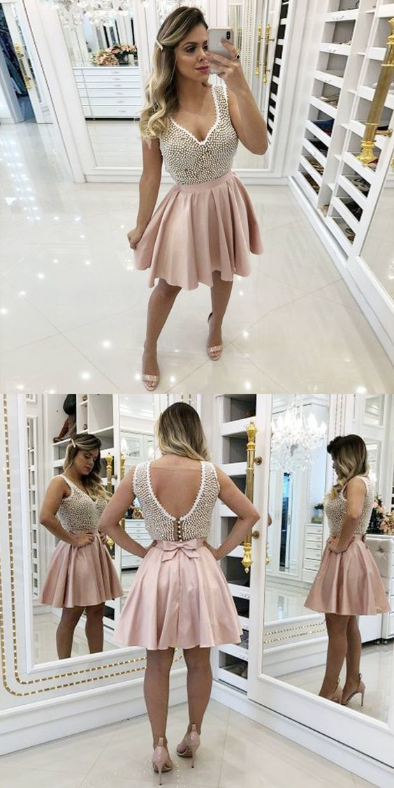 A-Line V-Neck Pink Homecoming Prom Dress with Beading Party Dress J0843