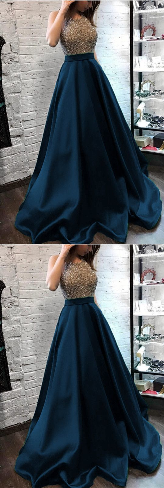 Sparkly Beaded Halter Long Satin Evening Gowns Open Back Prom Dresses Long