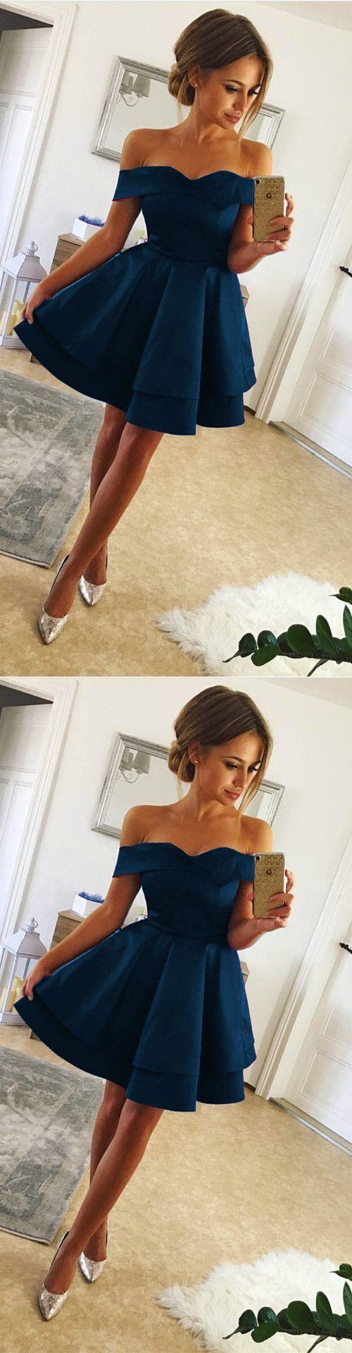 Short Satin V Neck Off-The-Shoulder Homecoming Dresses Navy Blue Prom Cocktail