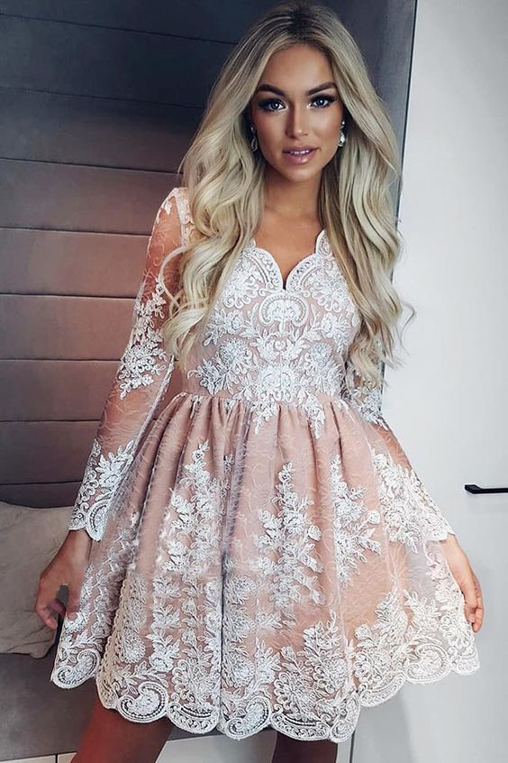 A-Line V-Neck Long Sleeves Short Pink Lace Homecoming Dress with Appliques Party