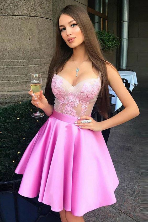 A-Line Spaghetti Straps Above-Knee Pink Prom Homecoming Dress with Appliques