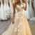 Champagne Applique Prom Dress, Illusion A Line Dresses ,Evening Wear Champagne