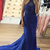 Mermaid Halter Backless Sweep Train Royal Blue Prom Dress with Appliques